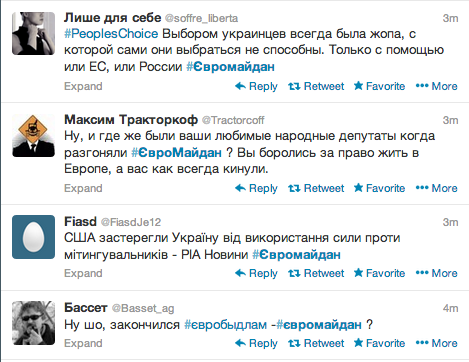 The screenshot of the Twitter feed of #Euromaidan from December 29, 2013