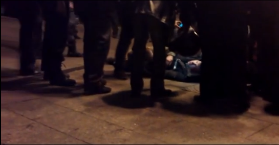 On this video you can see how the policemen beat the protesters, put them on the ground, and then were taking pictures of their abused and humiliated victims.